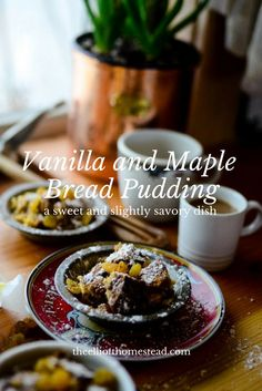 The irony with this vanilla and maple bread pudding recipe is that rarely do we ever have stale bread laying around, as is tradition for such a dish. Created to unify all the weird bits of bread you'v New Recipes, Sweet Recipes, Whole Food Recipes, Cooking Recipes, Healthy Recipes, Pudding Recipes, Delicious Desserts, Dessert Recipes, Desert Recipes