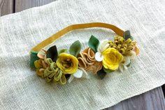 Felt Flower Crown // Golden // Birthday Fairy by fancyfreefinery, $20.00