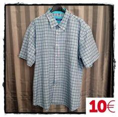 Camisa caballero manga corta cuadros azul