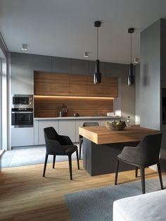 27 Modern Kitchen Interior Design That You Have to Try Kitchen Room Design, Kitchen Cabinet Design, Kitchen Sets, Modern Kitchen Design, Home Decor Kitchen, Interior Design Kitchen, Kitchen Furniture, Home Kitchens, Condo Interior