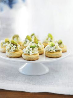Pistachio and Chive Goat Cheese on Puff Pastry Wafers. Not a fan of goat cheese but use a different cheese and this would be amazing!