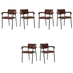 Set of Six Dining Armchairs by Jacques Quinet | From a unique collection of antique and modern dining room chairs at https://www.1stdibs.com/furniture/seating/dining-room-chairs/