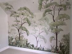 FOREST | Kinderkamer | Behangfabriek Girls Bedroom Wallpaper, Nursery Wallpaper, Painting Wallpaper, Kids Wallpaper, Kids Bedroom, Kids Room Murals, Nursery Wall Murals, Baby Room Design, Baby Room Decor