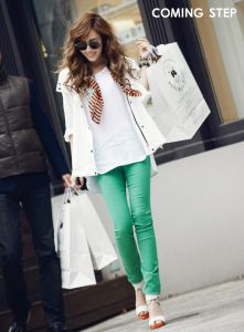 Mint skinny jeans and white