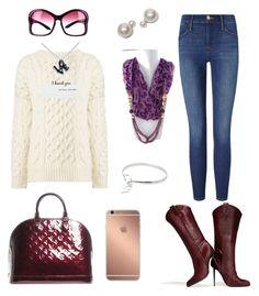 """Plum Fall Fashion"" by quanjewelry ❤ liked on Polyvore featuring Frame Denim, Louis Vuitton, Joseph, Prada, Mura and fall2015"