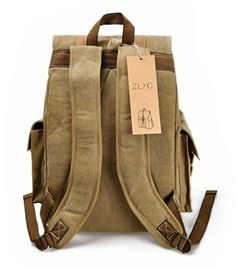 "ZLYC Men Vintage Casual Canvas Leather Hiking Backpack Bag Fit 17"" Laptop from ZLYC"