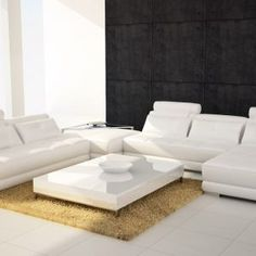 White Leather Sectional Sofa With Ottoman
