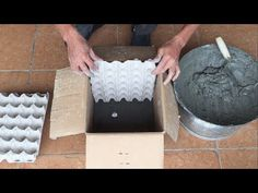 Cardboard Boxes And Egg Trays Cement Flower Pots, Cement Planters, Diy Planters, Cement Art, Concrete Crafts, Egg Box Craft, Egg Crates, Egg Carton Crafts, Concrete Molds