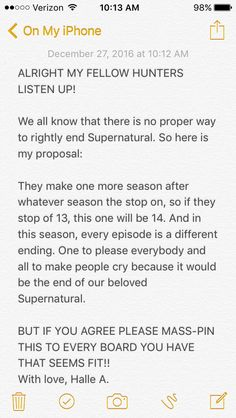 Wow. This is such a good idea. I love the concept of different circumstances with the same characters. I mean, I do this all the time myself and there really is no way that the Supernatural finale will satisfy everyone. Honestly, at this point Supernatural has gone so far downhill that the odds of the finale satisfying anyone are slim. If there are different finales there's bound to be a good one.<< Wooooooo!