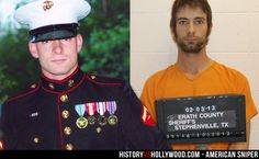 Eddie Ray Routh as a Marine and after being arrested for shooting Chris Kyle and Chad Littlefield. Routh is briefly portrayed onscreen at the end of the American Sniper movie starring Bradley Cooper. Learn more at 'American Sniper: History vs. Hollywood' - http://www.historyvshollywood.com/reelfaces/american-sniper/
