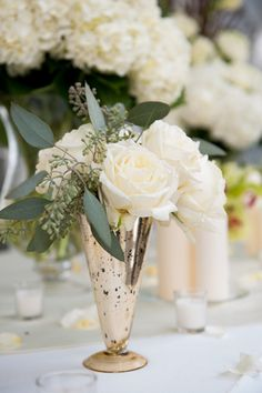 white roses + mercury glass | Kate Belle #wedding