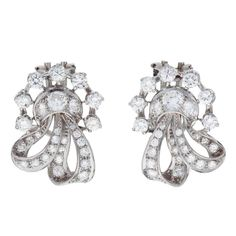 Diamond Platinum Bow Clip and Post Earrings