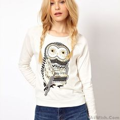Wow~ Awesome Fashion Rhinestone Owl Printed Sleeve Sweater! It only $32.99 at www.AtWish.com! I like it so much<3<3!
