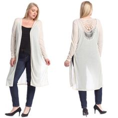 SALEPlus Size Cream Crochet Back Long Cardigan New with tags. Plus size cream/beige, marled long sleeve long cardigan. Has side slits.                                                                                           95% polyester, 5% rayon.                                          PRICE IS FIRM UNLESS BUNDLED.                             ❌SORRY, NO TRADES. Boutique Sweaters Cardigans