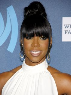 Bangs are also the perfect accent to top knots, as pictured here on Kelly Rowland.