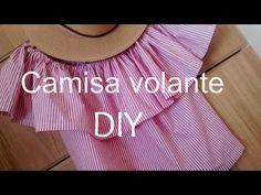 Hoy cosemos: una blusa con volante y hombros al aire - YouTube