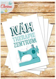 Liebe & Freundschaft - Postkarte NÄH-THERAPIE-ZENTRUM - ein Designerstück von die-elberbsen bei DaWanda Subway Art, Paper Design, Doodles, Quilts, Etsy, Signs, Sewing, Words, Holiday