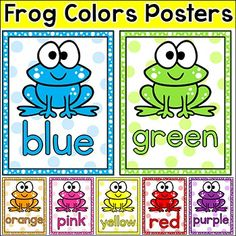 Frog Theme Classroom Colors Posters - These fun frog theme color posters will look fantastic on your classroom wall! BUNDLE DISCOUNT! This product can be purchased at a great discount as part of my Frog Theme Decor Bundle.This product includes a set of 11 color posters each with a fun frog character.