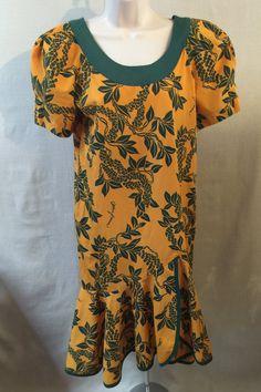 e13c8394fe6 Vintage Allan James Hawaiian Dress Muumuu Resort Wear Orange Green Button  Back Ruffle Hem Size 4