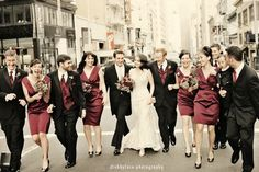love this idea of a walking wedding party shot....i think it reminds me of a Friends picture