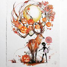 """Sweet Autumn""  Watercolour on Arches Watercolour paper size 28x38 cm 300gsm  #watercolour #watercolor #art #artwork #illustration #deer #autumn #fall #halloween #candy #boy by #jongkie by jongkie"