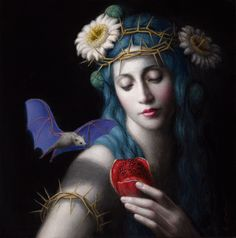 """Offering"" Oil on Board 10""x10"",2015 by Chie Yoshii."
