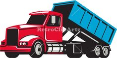 Roll-Off Truck Side Up Retro Vector Stock Illustration. Illustration of a roll-off truck with container bin on back viewed from side set on isolated white background done in retro style. #illustration #Roll-OffTruck