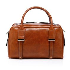 Easy dark camel structured satchel