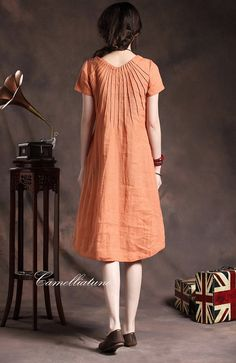 orange tunic dress with tucks / linen tunic by camelliatune