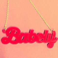 Acrylic Perspex Laser Cut name necklace Babely