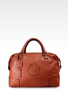 f83e6553fabd Giorgio Armani Men WEEKEND BAG IN TUMBLED LEATHER WITH LOGO