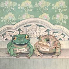 Frogs are Happy, Toads are Sad (art print from watercolour of frog and toad by Cori Lee Marvin) on Etsy, $90.26