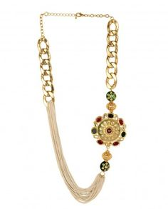 Statement Necklace with Red and Green Floral Pendant by Anjali Jain - #Gold #Earrings #Multicolour #Ethnic #Bling #India #Fashion #Jewelry #Indian #Designer #Jewellery #Multicolor #Desi #Stones #Kundan #Beads #Jhumka #Pearl #Traditional #Golden #Floral #Bangles #Necklaces Indian Ethnic Fashion - Jewelry Designs of India - Jewellery for Festive Dressing - Jewelry Styles for Indian Weddings - Bridal Jewellery