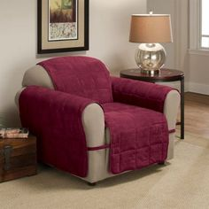Red Barrel Studio Ultimate Faux Suede Furniture Protector Polyester Armchair Slipcover Size: H x W, Upholstery: Burgundy Armchair Slipcover, Furniture Slipcovers, Dining Chair Slipcovers, Furniture Covers, Sofa Covers, Textiles, Box Cushion, Faux Suede Fabric, Interiors