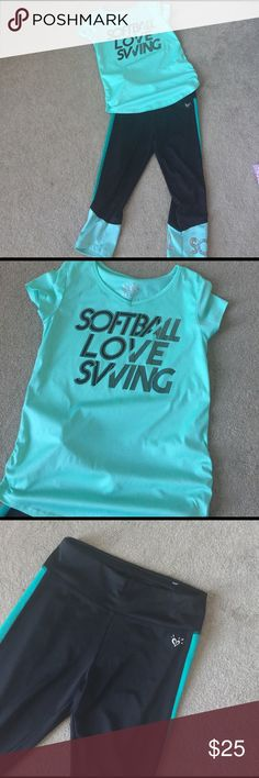 Girls Softball Set Mint green tee and black and mint yoga pants. Justice Matching Sets