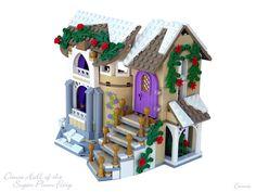 Lego Christmas Village, Lego Winter Village, Lego Gingerbread House, Gingerbread Christmas Decor, Minecraft Lego, Minecraft Buildings, Table Lego, Lego Mini, Casa Lego