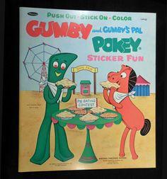 Vintage 1968 Whitman LARGE Sticker Fun Book, GUMBY and POKEY, Unused #Whitman