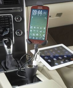 This Smartphone Charger/Holder by High Road is perfect! Trunk Organization, Charger Holder, Smartphone Holder, Car Trash, Phone Stand, Phone Charger, Back Seat, Phone Covers, Cool Gadgets