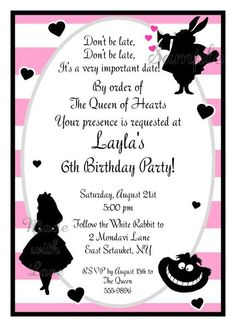 Alice in wonderland baby shower or birthday party invitations alice in wonderland baby shower or birthday party invitations personalized ebay bri baby shower pinterest party invitations alice and birthdays stopboris Images