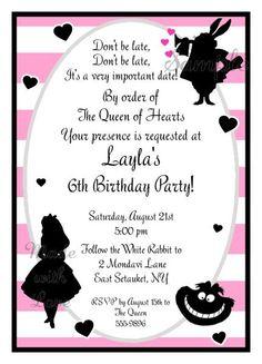 Sweet Alice in Wonderland Invitations Pink   madewithloveinvite@sbcglobal.net