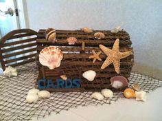 Beach Themed Card Box :  wedding beach brown card box diy engagement reception sea shells teal IMG 0286