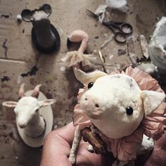"""✨""""Coucou & may you all have a lovely evening!"""" ✨ #spuncotton #piglet #figurine #fauxtaxidermy #huntingtrophy #wallhanger #flamingo #goat #mouse #rat #walldecor #handmade #interior #decoration #bohemian #victorian #vintage #antique #tradition #wattefigur #handwerk #germanvintage #shabbychic #fermliving #primitive #onmytable #filasophie #atelier #love ❤️"""