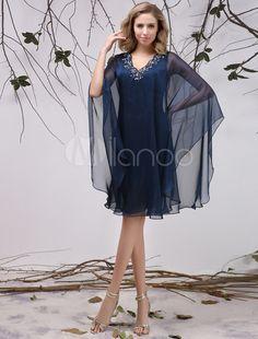 Robe mère de mariés en chiffon bleu marine foncé avec applique - Milanoo.com