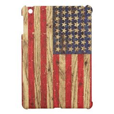 Vintage Patriotic American Flag on Old Wood Grain iPad Mini Cases