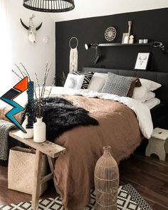 Trendy Bedroom Black Brown Lights Ideas - New Ideas Bedroom Black, Bedroom Brown, Black Bedroom Furniture, Black Bedding, Grey Brown Bedrooms, Dark Bedrooms, Brown Bedding, Black Headboard, Bedroom Neutral