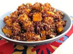 Red Quinoa with Roasted Butternut Squash, Dried Cranberries, and Pumpkin Seeds (I see an addition to vegan thanksgiving)