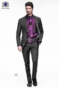 Traje de moda italiano a medida negro con rayas en tejido new performance, modelo 1082 Ottavio Nuccio Gala colección Emotion 2015.