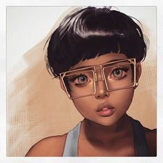 Short hair brown girl with square glasses digital painting portrait Black Girl Art, Black Women Art, Art Girl, Arte Black, Black Art Pictures, Black Artwork, My Black Is Beautiful, Beautiful Artwork, Afro Art