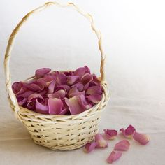 Image result for small wicker basket with petals