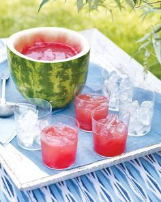 Watermelon Punch Bowl! Cut top third off watermelon; trim bottom just enough to make a flat surface. Scoop out flesh. Puree watermelon in a food processor. Strain through a fine sieve; discard solids. Combine juice with seltzer or champagne for a great summer refresher!